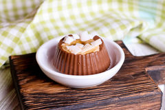 Chocolate pudding with cocos and bananas Royalty Free Stock Photo