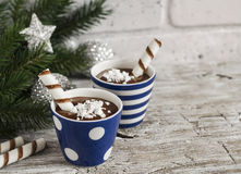 Chocolate pudding with cookies in ceramic vintage glasses Royalty Free Stock Photos