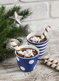 Chocolate pudding with cookies in ceramic vintage glasses Stock Images