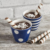 Chocolate pudding with cookies in ceramic vintage glasses Stock Image