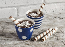 Chocolate pudding with cookies in ceramic vintage glasses Royalty Free Stock Photography