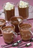 Chocolate pudding with cream Stock Photos