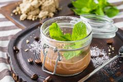 Chocolate pudding with fresh mint in a jar stock photos