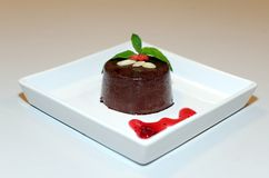 Chocolate pudding with goia and almond Royalty Free Stock Photo