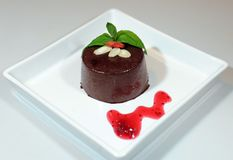 Chocolate pudding with goia and almond Royalty Free Stock Photos