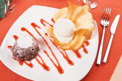 Chocolate pudding with ice cream Royalty Free Stock Image