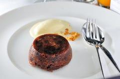 Chocolate pudding. With ice-cream stock photo