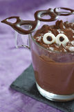 Chocolate pudding with marshmallow for Halloween Royalty Free Stock Images