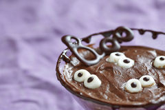 Chocolate pudding with marshmallow for Halloween Stock Photography
