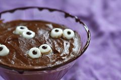 Chocolate pudding with marshmallow for Halloween Royalty Free Stock Image