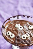 Chocolate pudding with marshmallow for Halloween Stock Photo