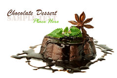 Chocolate pudding with mint and star anise Royalty Free Stock Images