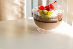 Chocolate pudding mousse with mix fruit Stock Images