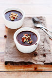 Chocolate pudding with nuts Stock Photography
