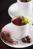 Chocolate pudding in small cups Royalty Free Stock Images