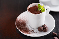 Chocolate pudding in small cups Royalty Free Stock Photography