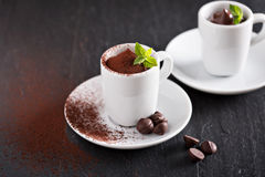 Chocolate pudding in small cups Stock Photo
