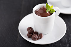 Chocolate pudding in small cups Stock Image