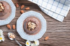 Chocolate pudding topping of chocolate and almond sliced. Chocolate pudding topping of chocolate and almond sliced stock photography