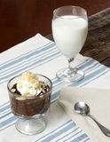 Chocolate Pudding Whipped Cream Dessert. A plated dish of Chocolate Pudding Whipped Cream Dessert with glass of milk in the background Stock Photos