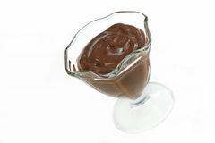 Chocolate pudding on white with copy space. Stock Photography