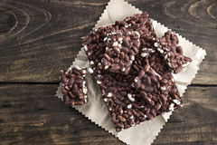 Chocolate with puffed rice bar on table Royalty Free Stock Photography