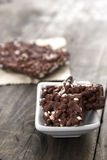 Chocolate with puffed rice bar on table Stock Photography
