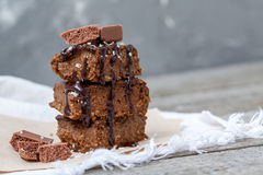 Chocolate pumpkin brownies with slices of chocolate Stock Photo