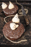 Chocolate pumpkin cupcakes, decorated with meringue ghosts and rusty knife Stock Photos