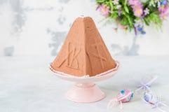 Chocolate Quark Dessert da Páscoa, Paskha imagens de stock