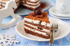 Chocolate, Quark and Prune Layer Cake. A Piece of Chocolate, Quark and Prune Layer Cake Stock Photos