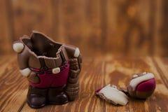 Chocolate quebrado Santa Claus Imagem de Stock Royalty Free
