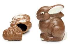 Chocolate quebrado Santa Clause And Easter Bunny Imagens de Stock Royalty Free