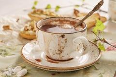 Chocolate quente com marshmallow e bruschetta ou crostini foto de stock