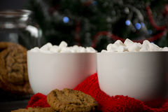 Chocolate quente com marshmallow e cookies Foto de Stock