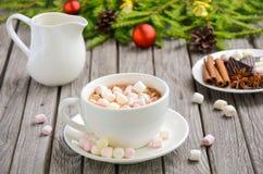 Chocolate quente com Marshmallows fotos de stock