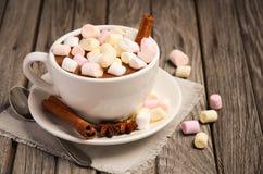 Chocolate quente com marshmallows e especiarias na tabela de madeira rústica imagem de stock