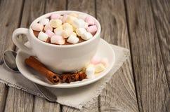 Chocolate quente com marshmallows e especiarias na tabela de madeira rústica imagens de stock