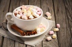 Chocolate quente com marshmallows e especiarias na tabela de madeira rústica imagem de stock royalty free