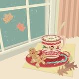 Chocolate quente com os marshmallows em Windows ilustração do vetor