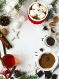 Chocolate quente com picante, os marshmallows e chá picante Imagens de Stock