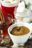Chocolate quente com picante, os marshmallows e chá picante Fotografia de Stock