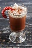 Chocolate quente com a varinha do marshmallow e do caramelo em um close-up de vidro do cálice imagem de stock royalty free