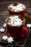 chocolate quente da bebida acolhedor do inverno com os marshmallows, verticais foto de stock royalty free