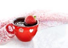 Chocolate quente da morango fotografia de stock