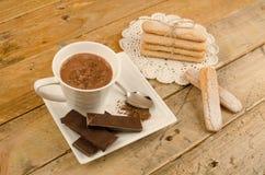 Chocolate quente e biscoitos Fotografia de Stock Royalty Free