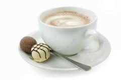 Chocolate quente e trufas Imagens de Stock