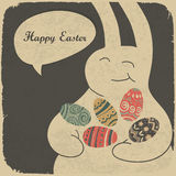 Chocolate rabbit and easter eggs. Stock Images