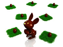 Chocolate rabbit and egg Stock Photos