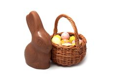 Chocolate rabbit isolated stock images